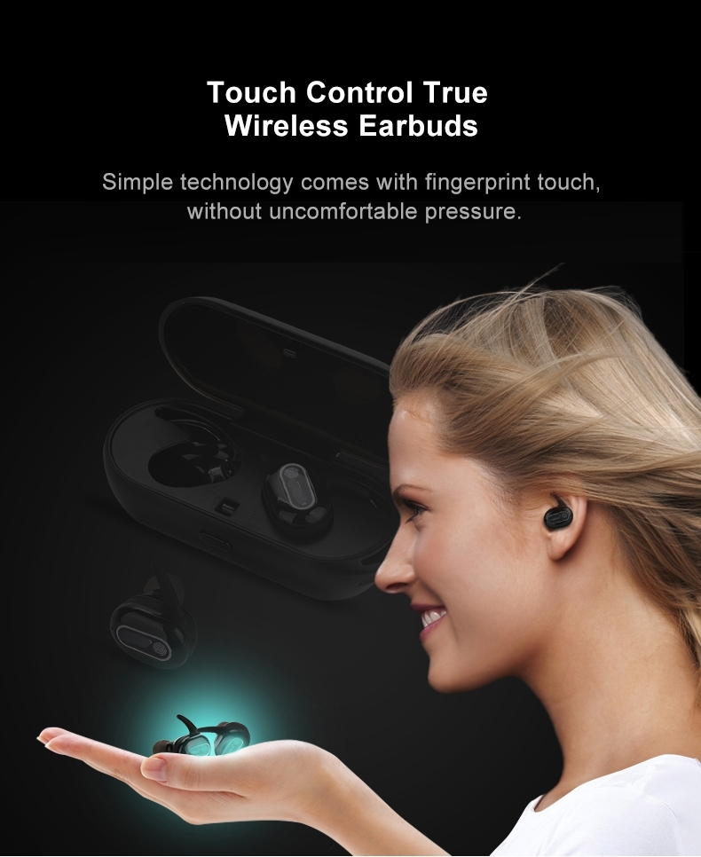 FINEBLUE TWS-R10 TWS EARBUDS FINGERPRINT TOUCH CONTROL WIRELESS BLUETOOTH EARPHONES
